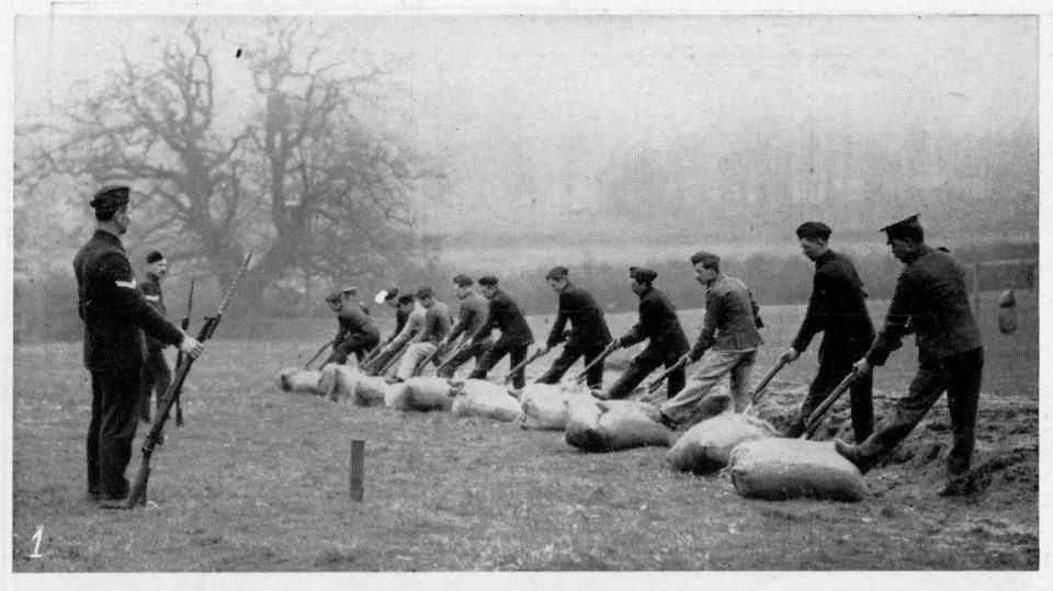 A squad at drill in baynot-fighting